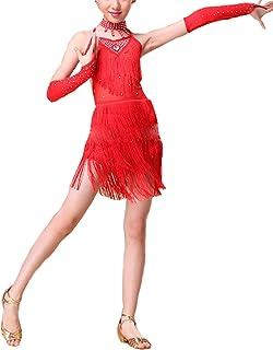 Qianliniuinc Children Fringe Competition Latin Skirt - Girls Tassel Sequin Beaded Latin Dance Dress Leotard Costume