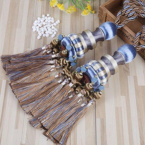 KISENG 1 Pair Beaded Tassels Curtain Tiebacks Rope Holdbacks for Bedroom (K Blue)