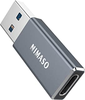 USB C Female to USB Male Adapter 5Gbps,NIMASO Type C to USB A Charger Cable Adapter,Fast Charging Converter Compatible wit...