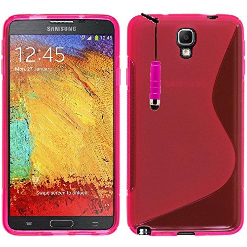 VComp-Shop S-Line - Custodia protettiva in silicone TPU per Samsung Galaxy Note 3 Neo SM-N7505 + mini pennino capacitivo, colore: Rosa