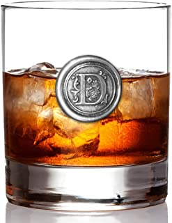 English Pewter Company 11oz Old Fashioned Whiskey Rocks Glass With Monogram Initial - Unique Gifts For Men - Personalized Gift With Your Choice of Initial (D) [MON104]