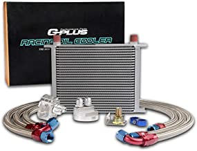 Universal 28 Row 10AN Engine Transmission Oil Cooler + Filter Relocation Kit Silver