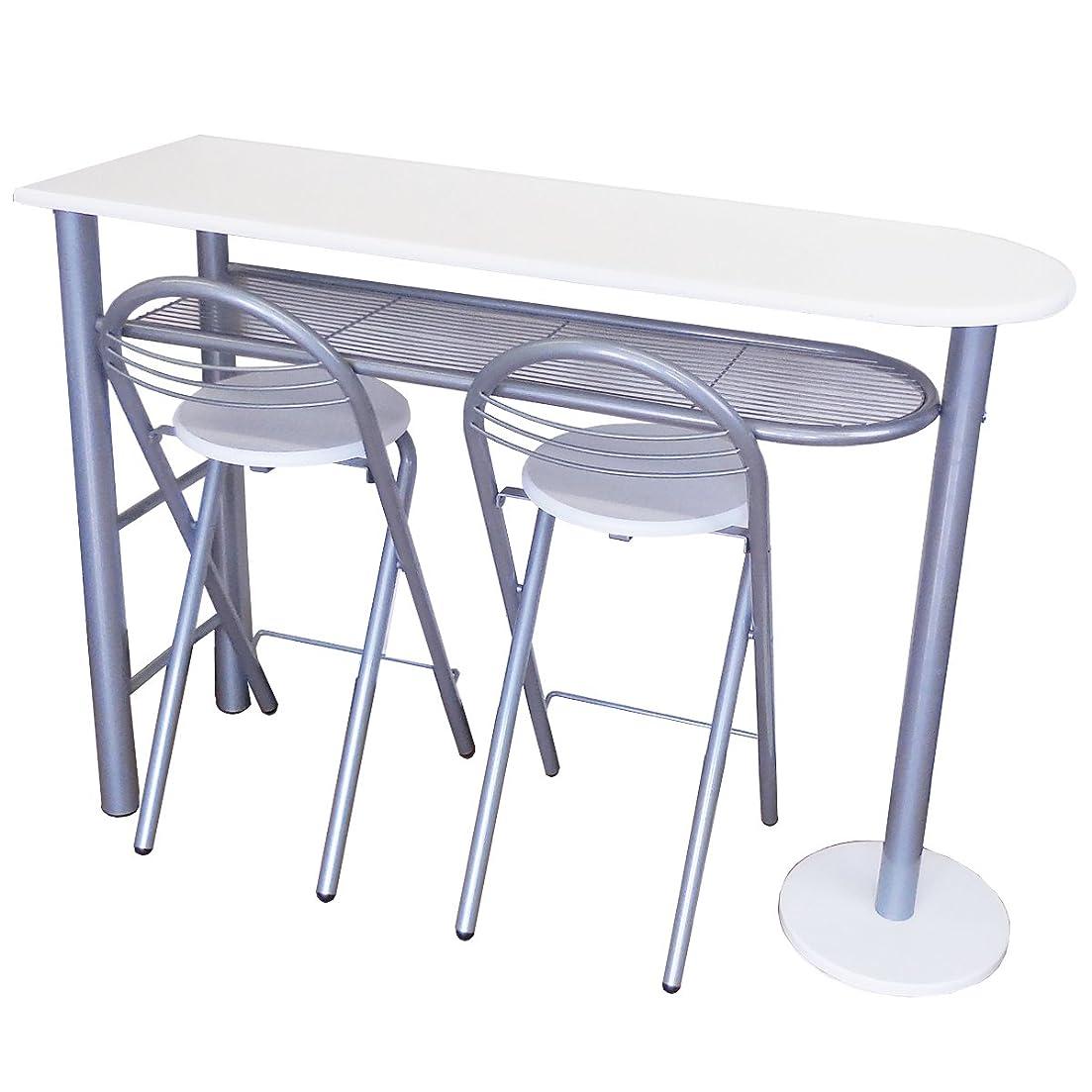ぐったり欠かせない署名NaturalHouse カウンターテーブル 3点 セット ( カウンター テーブル チェア 2脚 ) ホワイト カウンター サイズ 幅 120 奥行 40 高さ 88 cm チェアー 座面 直径 30 cm CTC-2102