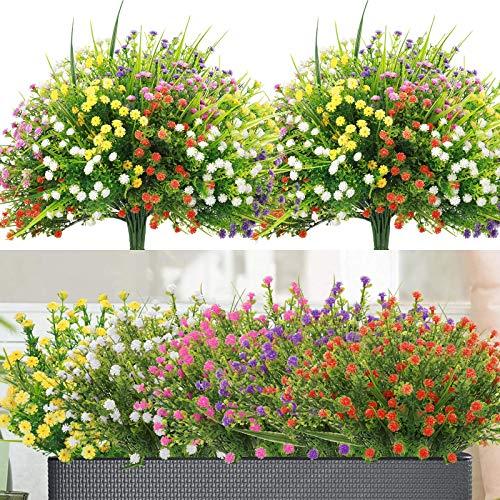 10 Piezas Flores Artificiales Decoracion, 5 Colores Resistentes a Los UV Flores Exterior Interiores Todo el Año, Plantas de Plastico para Casa Jardín Ventana Fiesta Boda Decoración (Gypsophila)