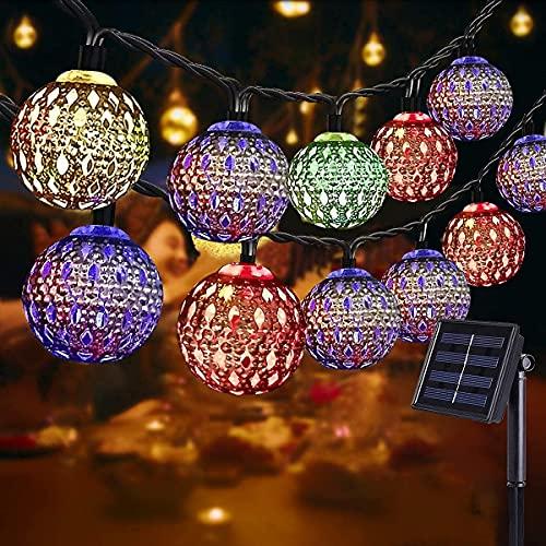 NLNEY LED Solar Marokkanische Lichterketten Außen, 7M 50er LED Lichterketten Aussen, 8 modi Solar Lichterkette Wasserdicht Lichter Beleuchtung für Garten, Terrasse, Hof, Haus, Weihnachten, Party(Bunt)