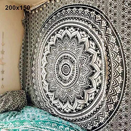 CAheadY Mandala böhmischen Yoga Mat Strandtuch Schal Decke indischen Wandbehang Tapisserie Bettlaken Bunte Wohnzimmer Wohnheim Dekor dekorative Vorhang Tischdecke Black 150x150cm