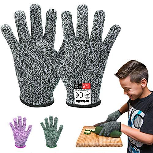 Reinalin Schnittsichere Handschuhe für Kinder, Küchenhandschuhe mit Hoher Schnittschutz der Leistungsstufe 5 für 5-8 Jährige,Lebensmittelkontaktqualität (XXS, Grau)