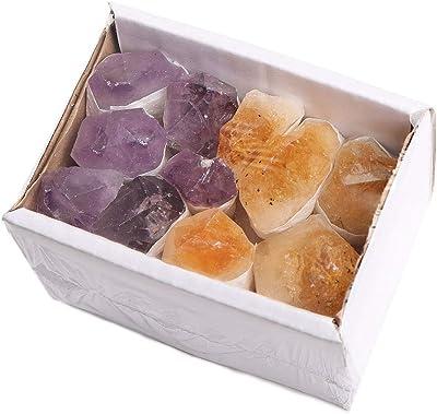 CXD-GEM Natural Crystal Gemstone Box Collection Set of 4 Irregular Rock Stone Display Box