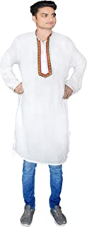 Lakkar Haveli Indian Men's Shirt Ethnic Casual Tunic Embroidered Kurta Plus Size