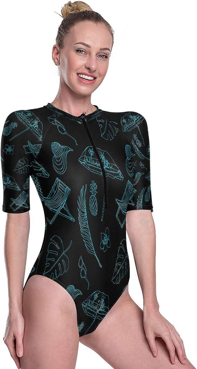 Womens Zip Up Printed Short Sleeve 1 Piece Rash Guard Swimsuit Beach Umbrella Exotic Leaves Swimwear