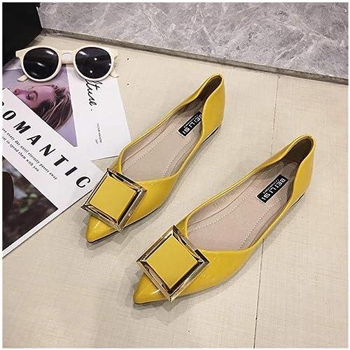 JOYIYUAN Chaussures pour Femmes en Cuir Verni avec Boucle à Boucle