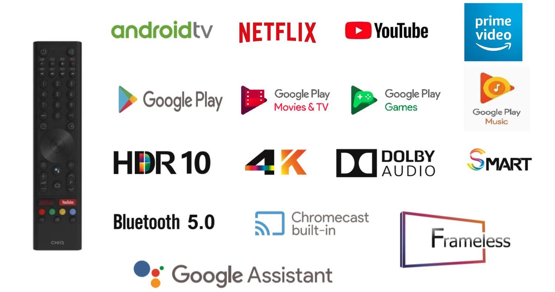 TV EVVO CHIQ 50UHD Android TV UHD 4K HDR10 Chromecast Incluido Sonido Dolby 50