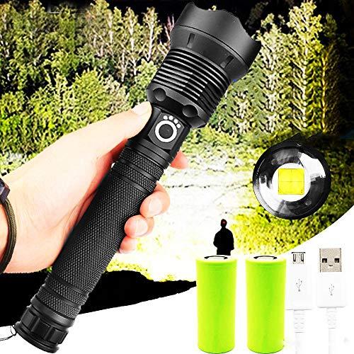 90000 Lumen Xhp70.2 Leistungsstärkste Taschenlampe Zoombar 3 Beleuchtungsmodi LED-Taschenlampenunterstützung zum Aufladen der USB-Jagdlampe mit Batterie und USB-Kabel