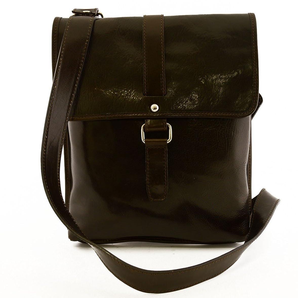 症候群現実的偽物Made In Italy Genuine Leather Man Bag, Magnetic Closure Color Dark Brown - Man Bag