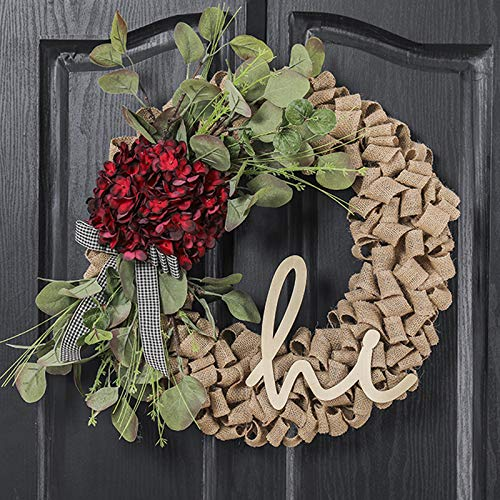 QUNWREATH 18 Inch Burlap Wreath,Hydrangea Wreath,Wreath for Front Door,Hello Wreath,Farmhouse Wreath,Grapevine Wreath