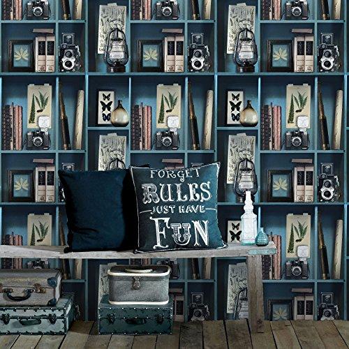 Superfresco Easy Papier Peint Intissé Cabinet De Curiosités Vinyle Grainé 1005 x 52cm Bleu