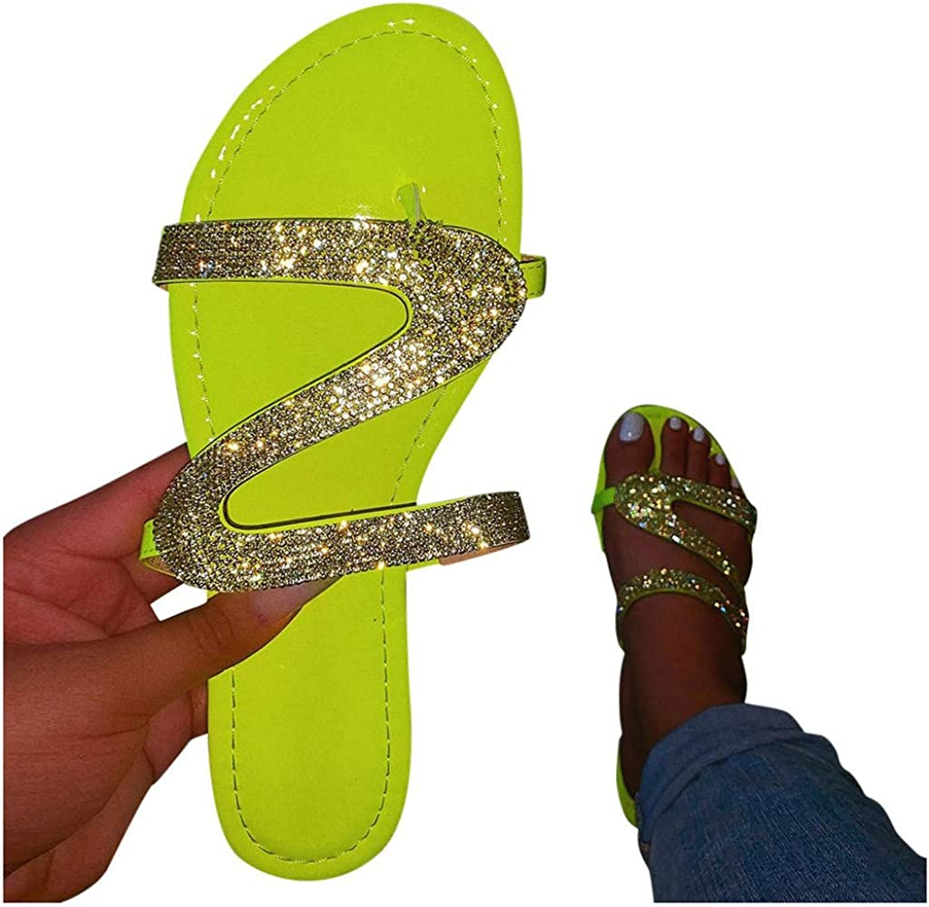 Comfy Shining Diamond Crystal Roman Shoes Summer Beach Travel Indoor Outdoor Slipper Vedolay Sandals for Women