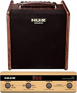 NUX Stageman 50 Watt Acoustic Guitar Amplifier with Bluetooth Control Pedal, Built-in 60 seconds Looper,20 drums rhythm styles
