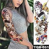 adesivo per tatuaggi impermeabili in pitone arte del tatuaggio manica grande braccio ragazza pavone loto