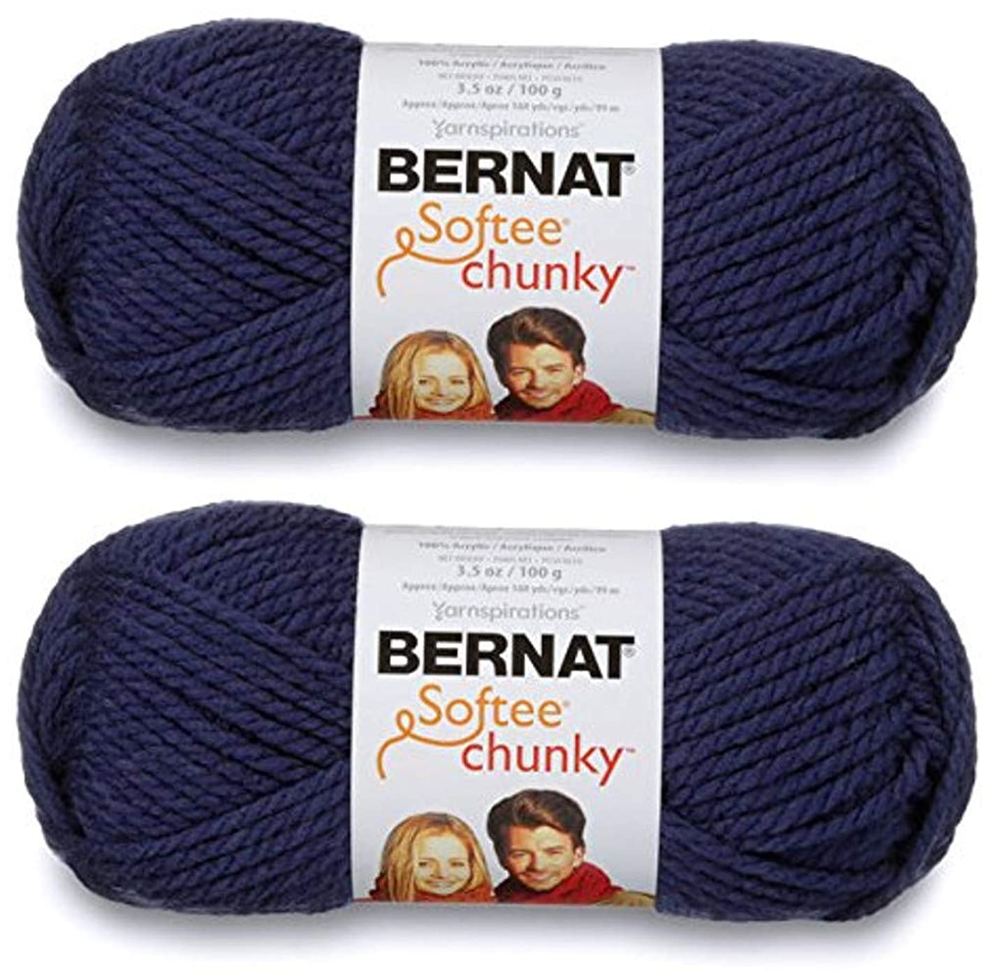 2-Pack - Bernat Softee Chunky Yarn, Faded Denim, Single Ball