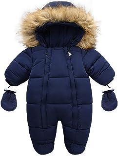 الرضع الدافئ بذلة القطن أسفل السروال القصير مقنعين داخل الصوف طفل رضيع فتاة وزرة قميص (Color : Navy blue, Kid Size : 6-9M)