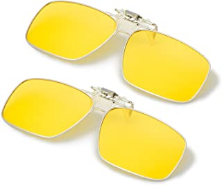 ELIVWR Polarized Clip on Sunglasses over Prescription Glasses Men&Women,Flip up Rectangle Lens Day and Night 2 Pack