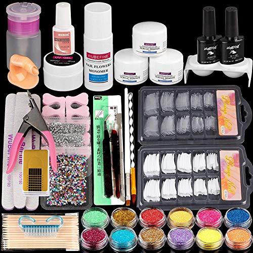 Acrylic Nail Kit,with Acrylic Powder Liquid Monomer Glitter Nail Tips,Acrylic Nail Art Decoration Tools Professional Manicure Set