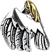 LILILEO Jewelry Stainless Steel High-polished Gold Bird Head Eagle Punk Retro Biker Rings For Men's Ring