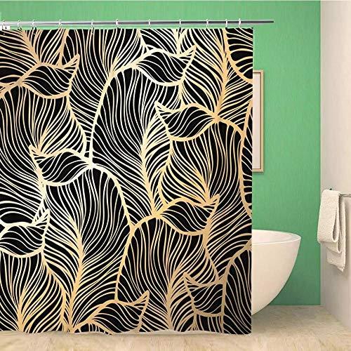Badezimmer Dekor Badezimmer Duschvorhang Navy Luxus Damast Blumenmuster Royal Gold Leaf Brocade Wasserdichter Badvorhang-B180cmxH180cm