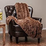 Chanasya Super Soft Fuzzy Shaggy Faux Fur Throw Blanket - Chic Design Snuggly Plush Lightweight with Fluffy Reversible Sherpa for Couch Living Room Bedroom and Home Décor (50x65 Inches) Chocolate