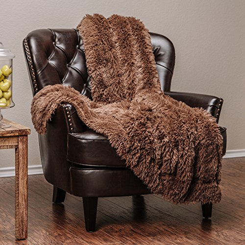 Chanasya Fuzzy Shaggy Faux Fur Throw Blanket - Plush Lightweight Reversible Sherpa Blanket for Couch, Home, Living Room, and Bedroom Décor (50x65 Inches) Chocolate