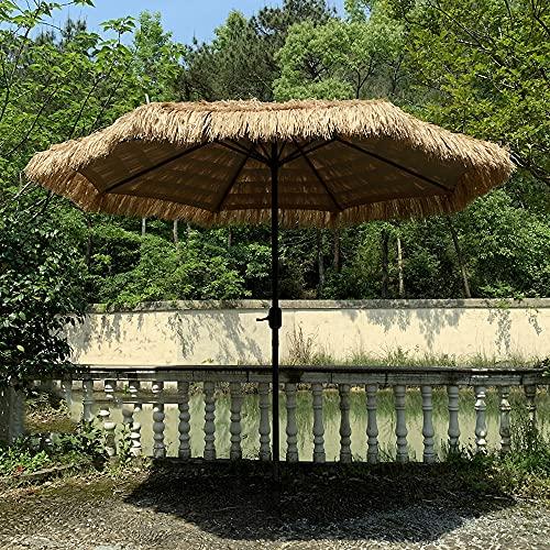 Parasol De Jardin Hawaii 2,7 M / 9 Pieds Extérieur en Paille De Plage avec Manivelle Patio Jardin Balcon sans Base