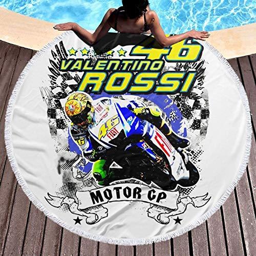 Valentino Rossi VR46 - Toalla de playa de microfibra para viajes, tamaño grande, a prueba de arena, secado rápido, ligera, toalla de viaje
