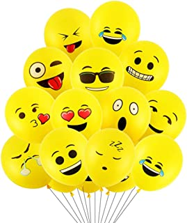 100 Ct 12 Inches Cartoon Birthday Party Balloons Assorted Color Emoji Flower Printed (Yellow Emoji)