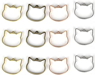 OBSEDE Cat Open Bezel Charms UV Resin Molds for Jewelry Making Findings Crafting Supplies Kit Casting Coating Epoxy 20pcs
