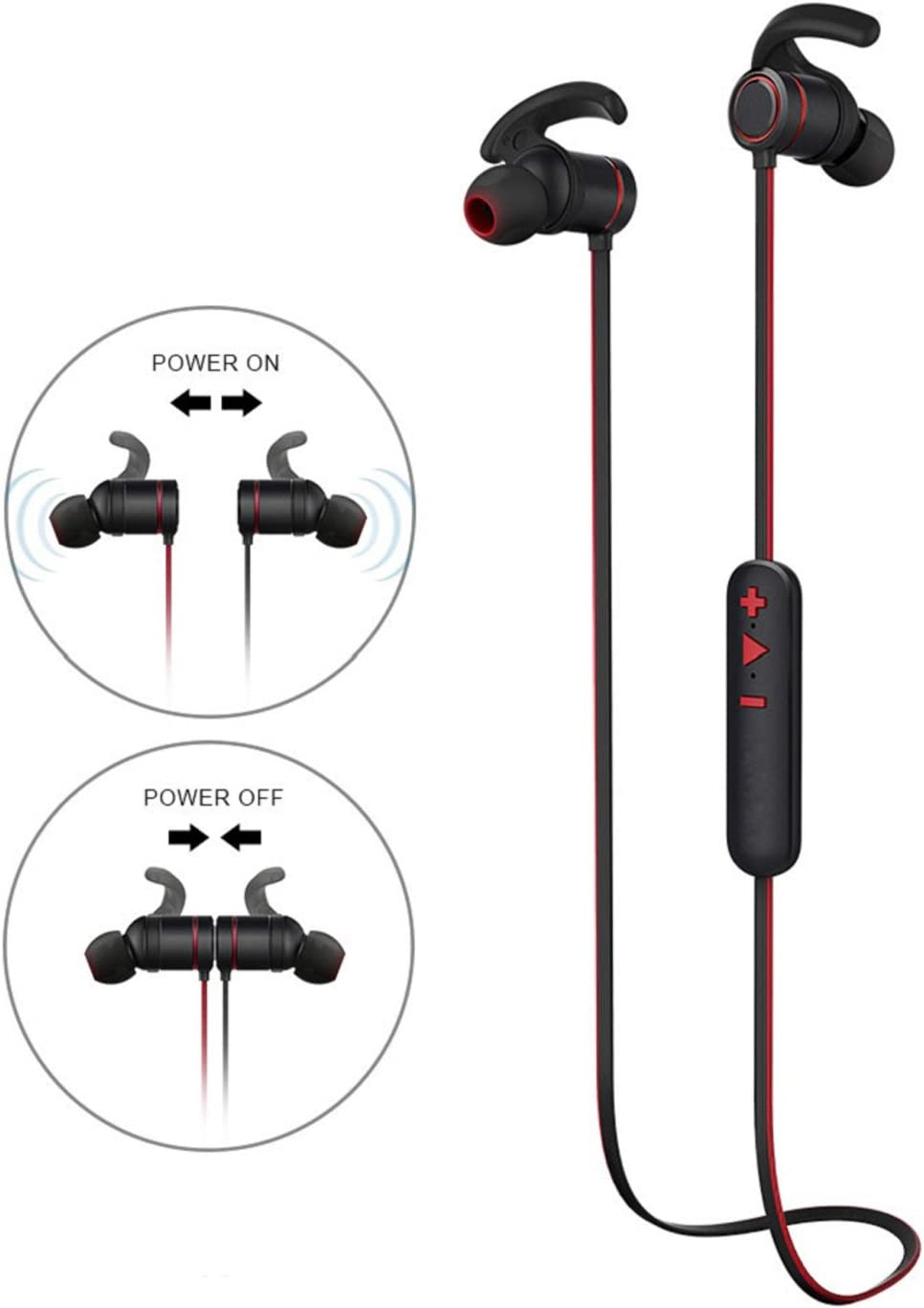 Bluetooth in Ear Headphones,Wireless Earbuds with Microphone HD Stereo Magnetic Super Bass Headsets Noise Cancelling Earphones for Gym Running Workout Compatible with iOS and Android Device-Black