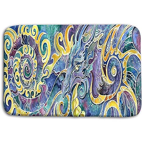 SESILY deurmatten tapijt triptiek Chinese draak volledige set kleurrijke getekend schilderij bad matten