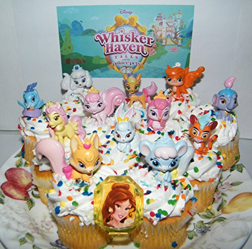 PALACE PETS Disney Whisker Haven Tales with The Deluxe Mini Cake Toppers Cupcake Decorations Set of 14 with Figures, a Sticker Sheet and Toy Ring with Dreamy, Petite, Sultan and More!