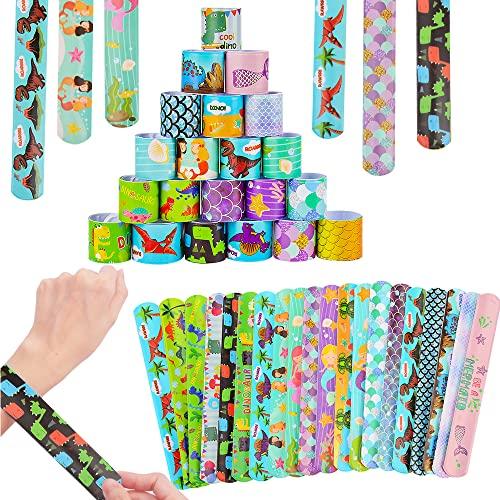 40Pcs Pulsera Bofetada OYNNI Pulseras de Juguete Slap Pulsera, Slap Bracelets, Banda de Pulsera Fiesta Cumpleaños de Infantil Rellenos de Bolsa de Fiesta para niños niñas