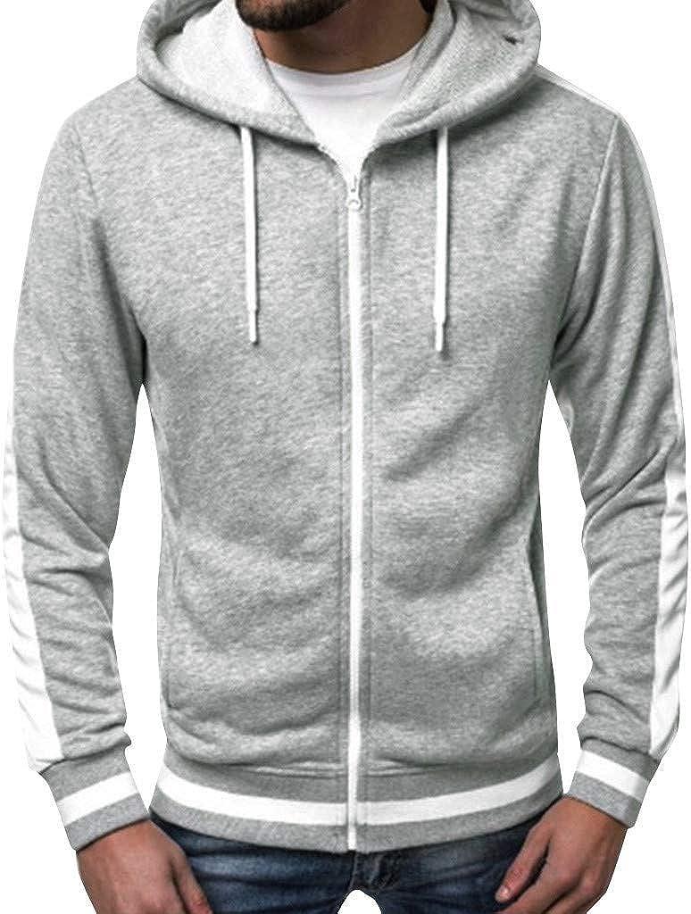 F_Gotal Mens Hoodies Zip Up Lightweight Slim Casual Long Sleeve Solid Drawstring Hooded Pullover Sweatshirts Outwear