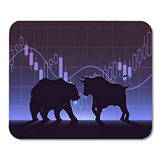 Nakamela Mouse Pads Black Street Stock Exchange Trading The Bulls and Bears Struggle Equity Market Concept Modern Flat Design Mouse mats 9.5