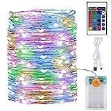 Onforu LED Lichterkette Batterie Bunt, 10M 100 LEDs Innen Drahtlichterkette mit Fernbedienung und...