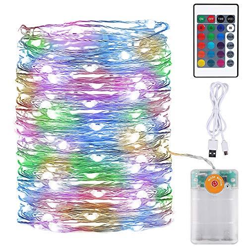 Onforu Cadena de Luces Batería RGB, 10M USB Guirnalda LED Luminosa con Temporizador, Luces led Navidad Arbol IP67 Impermeable, Multicolores Luces de Hadas para Navidad Interior Exterior Boda Fiesta