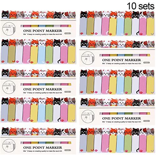 1500 pezzi (10 set) Foglietti adesivi graziosi con gattini fumettistici, da usare come segnalibri, indici, forniture per bambini, scuola, ufficio