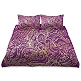 MNSRUU King Size Duvet Cover Sets, Vintage Peacock Feather Pattern Purple Polyester Microfiber Bedding Sets 3 Piece with 1 Duvet Cover and 2 Pillow Shams, Zipper Closure, Corner Ties