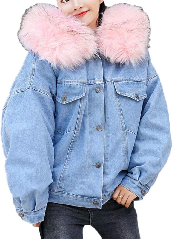 f78878a9 TymhgtCA Women Fashion Faux Fur Collar Fleece Lined Denim Short Thicken  Jacket