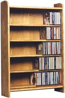 Cdracks Media Furniture Solid Oak 5 Shelf CD Cabinet Maximum Capacity 330 CD's Honey Finish