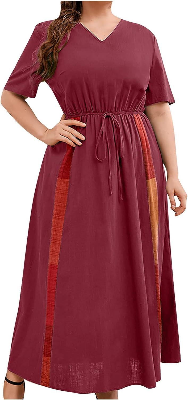 Plus Size Dresses For Women Color Block Patchwork Sundress O Neck Short Sleeve Maxi Dress Elastic Waist Party Gowns
