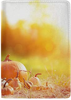 Pumpkins Candles Dried Fall Leaves Autumn Blocking Print Passport Holder Cover Case Travel Luggage Passport Wallet Card Holder Made with Leather for Men Women Kids Family