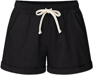 78d10af427 Elonglin Femme Shorts décontractée Été Vacances Coton Mélangé Bermuda Shorts  Casual Pantalon Courte Taille élastiqué Cordon